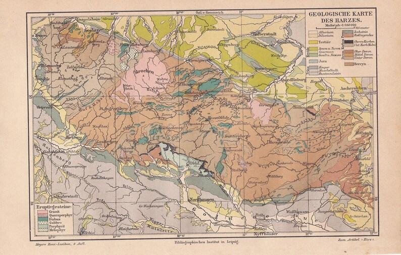 Carte Allemagne Thuringe.Carte Geologique De 1886 Des Montagnes Du Harz Basse Saxe Etsy