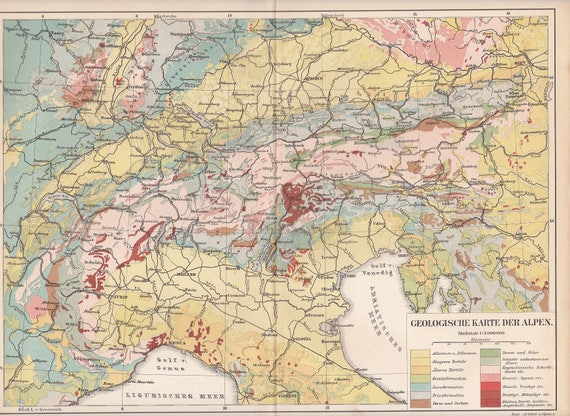 1895 Geological Chart Of The Alps Europe Denoting The Etsy