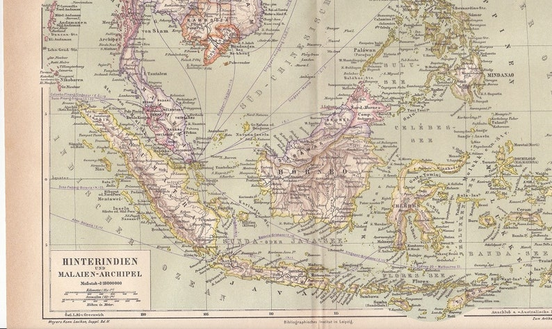 1875 Indochina Peninsula and the Malay Archipelago in Southeast Asia at the  End of the 19th Century Original Antique Map