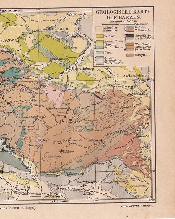 Carte Allemagne Thuringe.Carte Geologique De 1886 Des Montagnes Du Harz Basse Saxe Thuringe