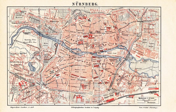Nuremberg Map Of Germany.1888 City Map Of Nuremberg Or Nurnberg Germany At The End Of The 19th Century Original Antique City Map