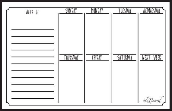 Weekly Fridge Magnet Calendar Dry Erase Calendar