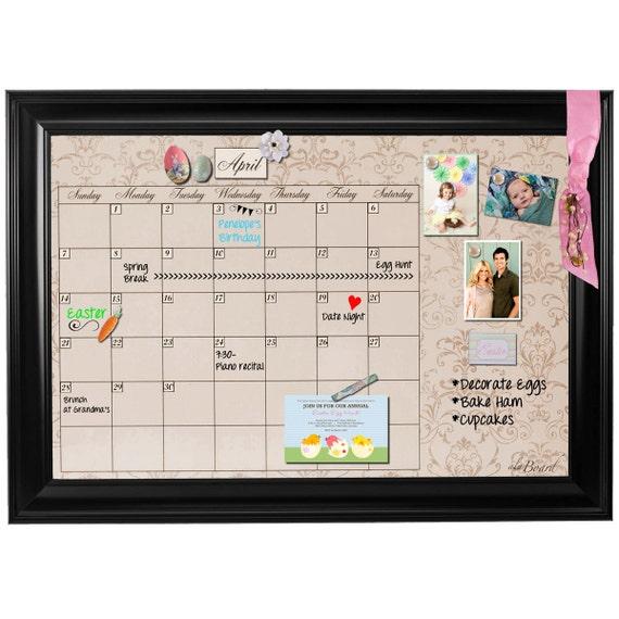 Framed Whiteboard Calendar Framed Dry Erase Calendar Etsy