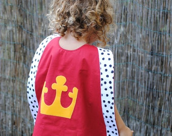 Kid's King Cape, 100% cotton, Halloween, Handmade, Crown, Knight, Birthday party, Dress up, Red, Capes, King, Children, Boys, Girls, Costume