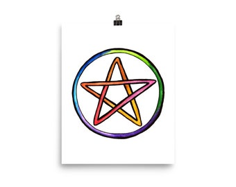 Rainbow Pentacle Glossy Poster
