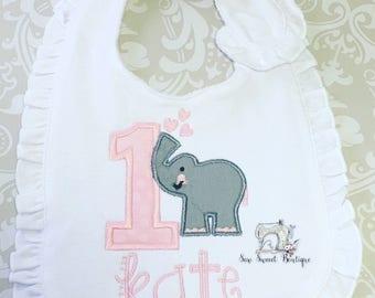 First birthday bib, elephant bib, birthday bib, one, 1st birthday, baby elephant
