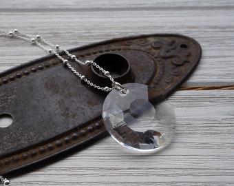 Swarovski Crystal Pendant / Crystal Pendant Necklace / Crystal Statement Necklace / Long Statement Necklace / Silver and Crystal Necklace