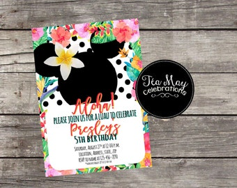 Hawaiian Minnie Mouse Personalized Birthday Luau Invitation