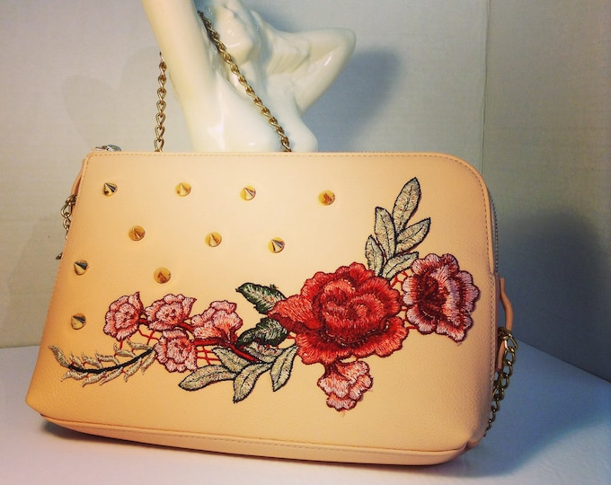 Peach Studded Rose Purse