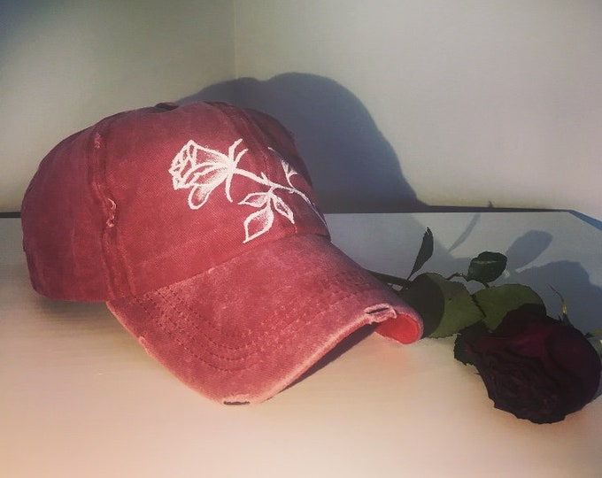 Distressed Rose Cap (Red)