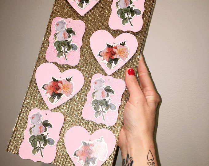Vintage Rose Gift Tags / Decorations (8 Pack)