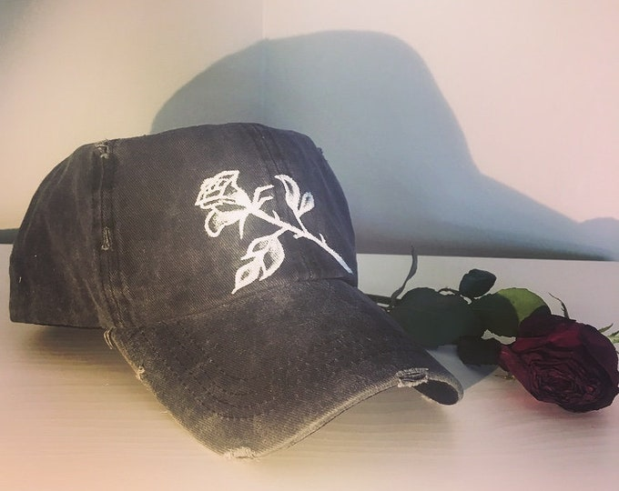 Distressed Rose Cap (Black/Grey)