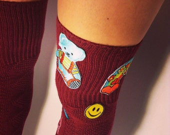 Thigh-High Socks with Patches