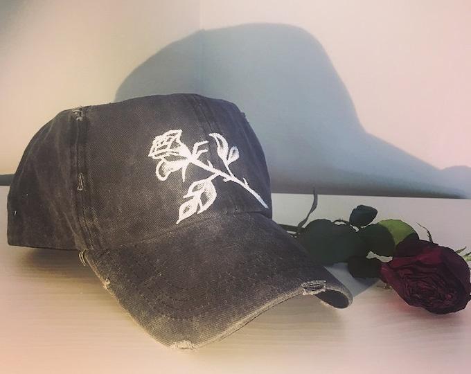 Distressed Rose Cap (Black/Grey)