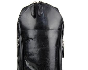 bcc643ac52 Borsello uomo marsupio vera pelle monospalla tracolla uomo borsa nero  marrone testa di moro made in Italy