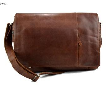 6ce406b4fe Genuine italian leather XXL shoulder messenger bag ipad laptop ladies men  notebook leatherbag satchel brown crossbody business executive bag