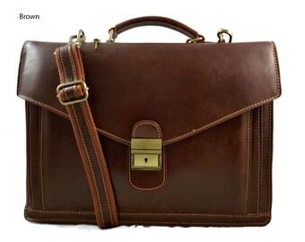 Cartella pelle borsa ufficio uomo donna valigetta 24 ore borsa pelle a mano  e tracolla borsa spalla nero marrone 0d08021f5c5