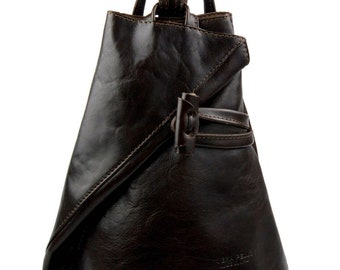 dbff77e1f011 Luxury leather backpack travel bag weekender sports bag gym bag leather  shoulder ladies mens bag satchel original made in Italy dark brown