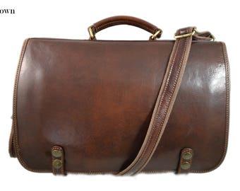 0b636c9c59fe Leather shoulder bag messenger rigid bag ladies mens handbag leatherbag  satchel carry on brown crossbody business executive bag