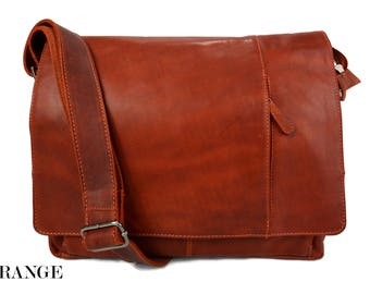 Borsa notebook cartella porta notebook ipad porta laptop in pelle arancione  messenger uomo donna cartella pelle borsa spalla a0ec120f4bf