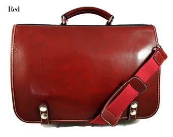 f83d2f04b984 Leather shoulder bag messenger rigid bag ladies mens handbag leatherbag  satchel carry on red crossbody business executive bag