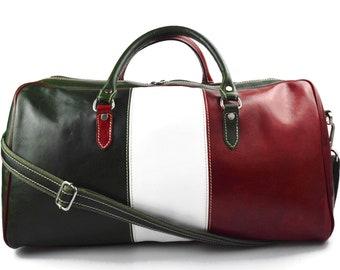 c6b4d4cda3f1 Duffle bag genuine leather shoulder bag Italian flag black | Etsy