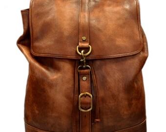 Vintage leather backpack genuine washed leather travel bag weekender sports bag gym bag leather shoulder ladies mens brown backpack