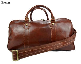 Travel bag brown duffle bag leather duffle bag overnight bag for men and women weekender leather cabin  bag made in Italy