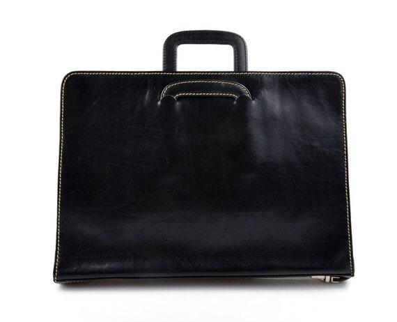 buy popular 9f8e4 26c27 Cartella portadocumenti in pelle A4 portadocumenti pelle chiusura zip  manici estraibili cartella pelle A4 portadocumenti donna uomo nero