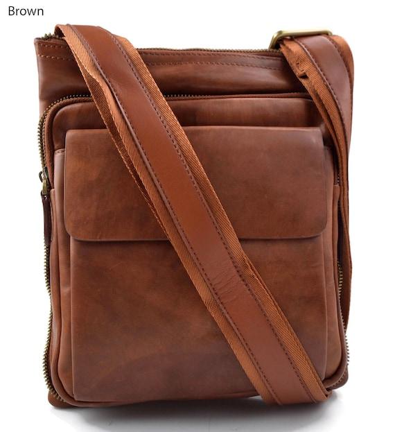 Bandolera de cuero bolso de piel messenger cartero de cuero marron bolso de piel de hombre bolso de piel de mujer bolso de espalda de cuero