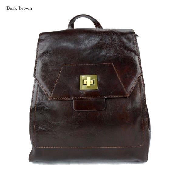 Mochila de cuero marron oscuro bolso de hombre piel bolso de  abdb7b2b6610