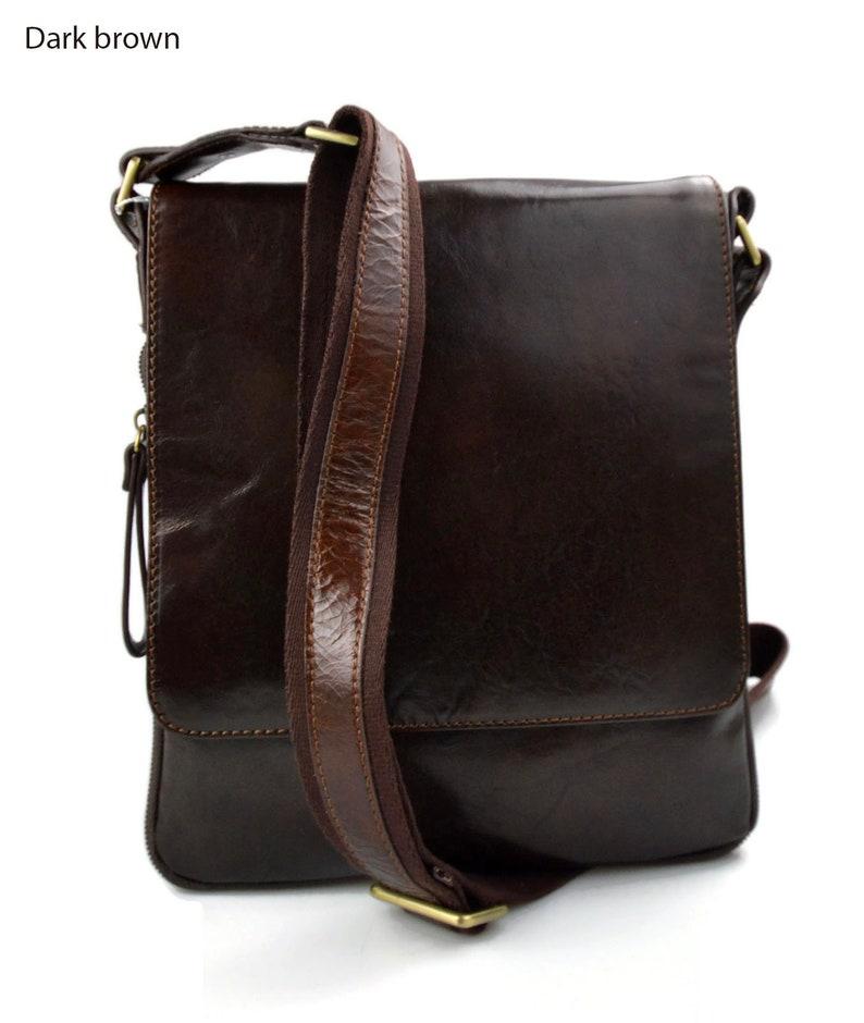 0e09c76943f0 Leather dark brown shoulder bag mens women sling bag messenger