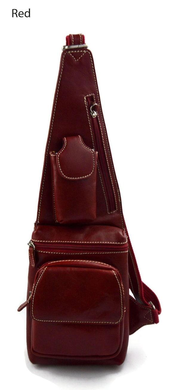 nuovo prodotto 246f4 3b451 Marsupio vera pelle borsello uomo borsa monospalla a tracolla borsa uomo  rosso made in Italy borsa a tracolla uomo pelle