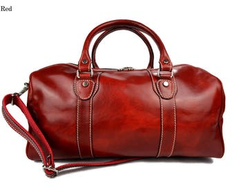 Travel bag red duffle bag leather duffle bag overnight bag for men and women weekender leather cabin  bag made in Italy