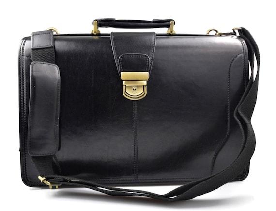 54a86461600f Doctor bag leather mens doctor bag XXL handbag women medical bag leather  bag vintage leather black made in Italy luxury bag travel weekender
