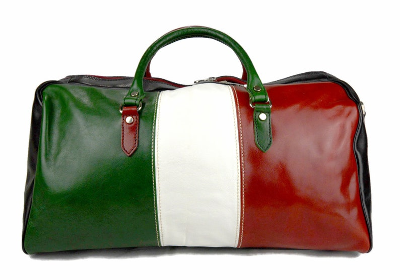 Duffle bag genuine leather shoulder bag Italian flag black  2b84ed0b720dc