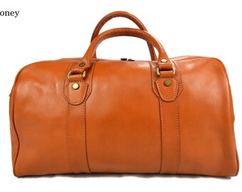 Leather duffle bag genuine leather travel bag honey overnight bag for men and women weekender leather cabin  bag made in Italy