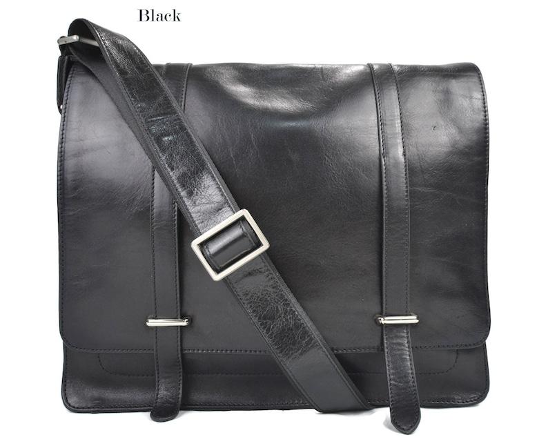e04b95ad9 Bolso messenger negro de piel bandolera de cuero bolso cartero | Etsy