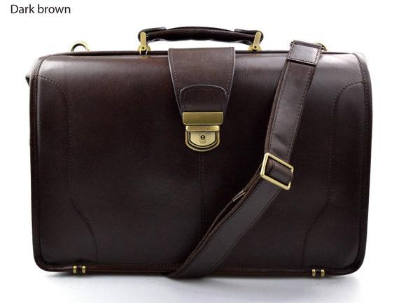 ad074f66a378 Doctor bag leather mens doctor bag XXL handbag women medical bag leather  bag vintage dark brown made in Italy luxury bag travel weekender