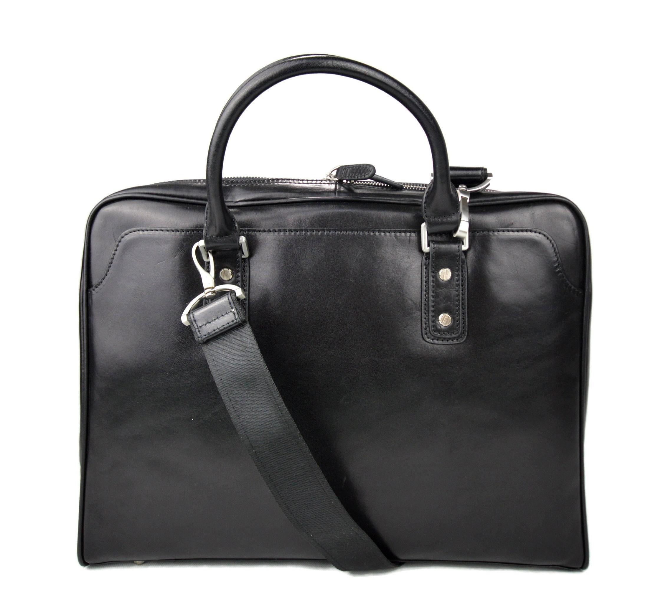 6f1e9f6650 Leather shoulder bag leather messenger bag ipad laptop black
