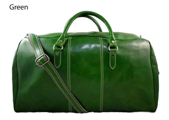 53e69a8a892e Duffle bag genuine leather shoulder bag green mens ladies