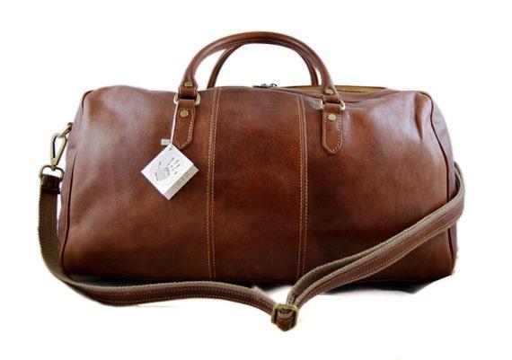 Duffle bag genuine leather shoulder bag black brown mens   Etsy b249770c2e