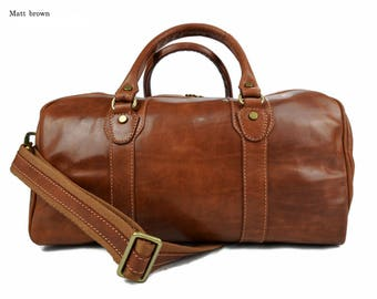 Leather duffle bag genuine leather travel bag overnight bag for men and women weekender leather bag cabin leather bag made in Italy brown