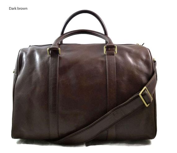 Leather duffle bag dark brown leather small duffel genuine   Etsy 634b309b69