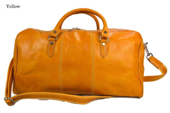 Travel bag leather duffle bag genuine leather shoulder bag yellow mens  women travel bag gym bag luggage made in Italy weekender duffle d64497671bed0