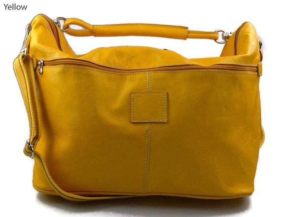 Duffle bag mens women leather yellow shoulder bag travel bag  c66eed5700c41