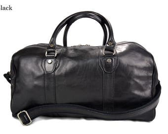 Leather duffle bag genuine leather travel bag black overnight bag for men and women weekender leather cabin  bag made in Italy