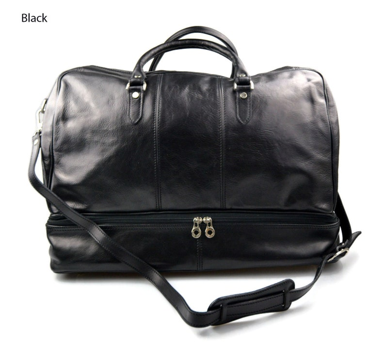 b2176ecca43 Leather duffle bag genuine leather shoulder bag black mens