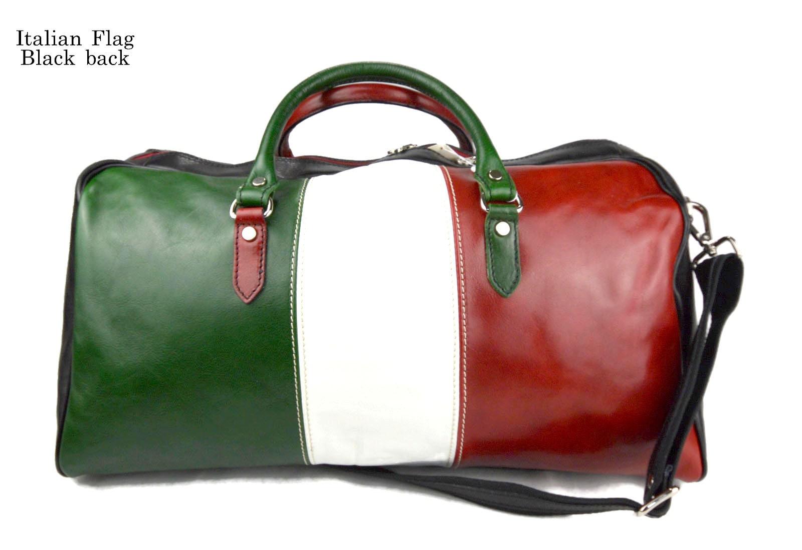ef038a55d9 Duffle bag genuine leather shoulder bag Italian flag black