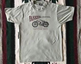 Vtg Antique Motorcycle Chapter of America Yankee Chapter National Meet 1991 T-Shirt Size L